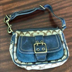 COACH 7061 blue leather and signature C purse